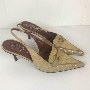Donald J Pliner Slingback Heels Cream and Gold EUC